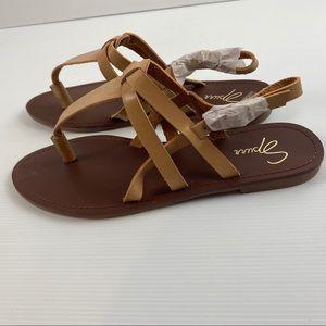 Brown & Tan Slingback  Sandal Shoes Size 7